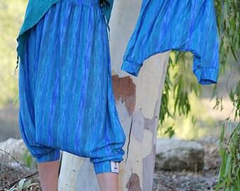 Family look - Deep sea Kids Harem pants - Unisex Harem pants for boys and girls. Blue Green Aquamarine Turquoise Mommy and Me harem pants.