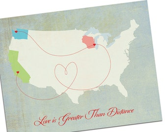 Long Distance Relationship gift, Friend Map, Custom World Map or Custom USA Map, Map Gift, travel gift
