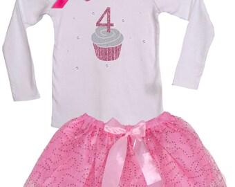 Girls 4th Birthday Cupcake Tutu Set, Pink Sparkle Tutu, White Ruffle Top, Party, #4 fourth  Birthday, Bling Personalize