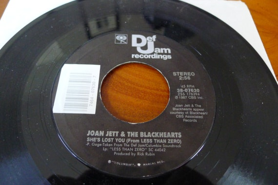 Bangles Joan Jett 45 Vinyl Record 1987 Less Than Zero