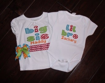 Boutique Primary colors with Chevron  Lil SiS or Bro Bodysuit Big sis or Bro Shirt Set and 6M to 14 youth for the Shirt