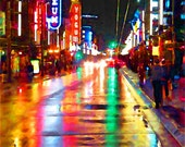 Vancouver, BC, British Columbia, neon lights, city lights, rainy weather, rainy streets, western Canada, streets at night, city at night