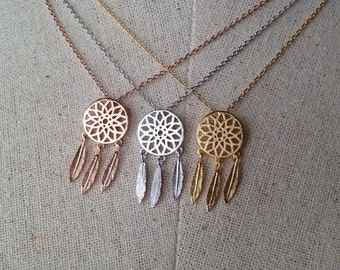 Dream Catcher Necklace, 18k Gold/Rose Gold/Silver, Dainty Necklace