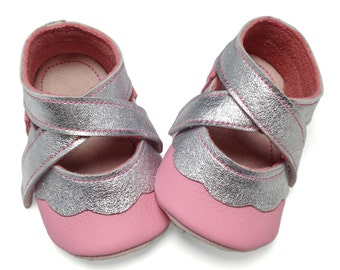 Silver and pink handmade leather soft soled baby girl shoes.