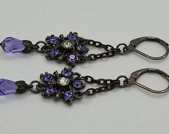 Vintage Look Tanzanite Swarovski Crystals Lever Back Earrings 22