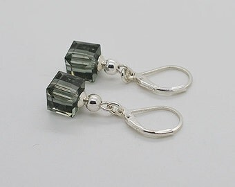 Black Dimond Cube Sterling Silver Lever Back Earrings