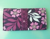 Floral Fabric Checkbook Cover Coupon Holder navy blue purple light blue