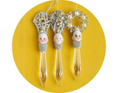 chandelier crystal pixies, doll head ornament, by Elizabeth Rosen