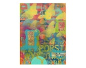 CHINATOWN 2, zen art, ORIGINAL 9x12 PAINTING, meditation, grafitti art, butterflies, impasto,  by Elizabeth Rosen