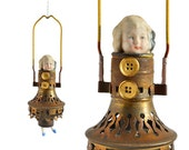 Jump Rope Girl, a mixed media assemblage altered art doll ornament by Elizabeth Rosen