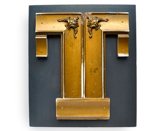 original sign letter, GOLD, letter T, made with vintage salvaged parts  by Elizabeth Rosen