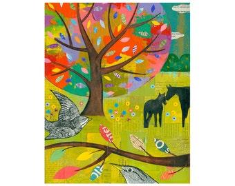 PRINT 8x10    One Spring Morning impasto tree horses landscape birds    by Elizabeth Rosen