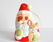 Mid Century Santa & Reindeer Kitschy Bell Christmas Ornament