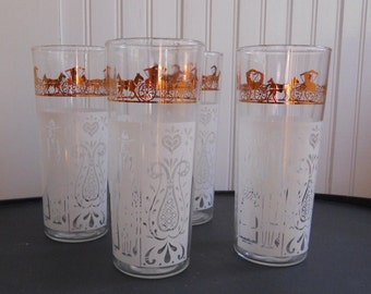 Vintage Butterprint Anchor Hocking Glasses White and Gold Metallic American Gothic Amish Set of 4
