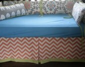 Baby Bedding Crib Bumper Orange Turquoise Medallion