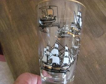 Set Of 6 Vintage Ship Glasses / Bar Ware
