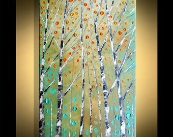 Painting on canvas Silver Birch Forest Original ready to ship from Paula ready to hang