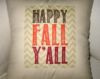 Fall Pillow, Happy Fall Y'All Chevron Pillow, Thanksgiving, Halloween Cushion, French Country Decor, Fall, Chevron, Pumpkin, Autumn Decor