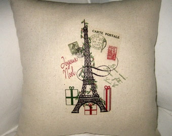 French Christmas Eiffel Tower Pillow, Shabby Chic Neutral Joyeux Noel Cushion, Paris Inspired Holiday Home Decor, Christmas Present, Antique
