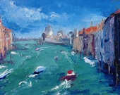 """Original 5"""" x 7"""" oil painting, grand canal, venice italy, fine art, small oil painting, representational modern art."""