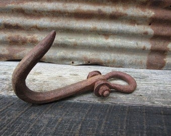 HUGE Massive Antique Hook Old Red Paint Crane Machinery Machine Age Farming Industrial Vintage Old Hook Rustic Salvaged Primitive Farm vtg