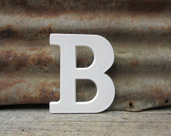 Letter Sign Marquee Vintage Sign 6 Inch Capitol Letter B Sign White Courier Font Hard Plastic Alphabet Signage Old Letters Wall Art Retro