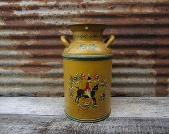 Metal Can Industrial Steel Milk Can Hand Painted Folk Art Scene Fox Hunt Tole Mustard Yellow Primitive Antique Rustic Decor Industrial Decor