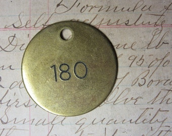 Number Tag Vintage Jewelry Charm Brass Number 180 Tag #180 Tag Industrial Tag Address Number Apartment Number Key Keychain Fob Special Date
