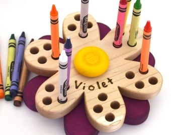 Flower Crayon Holder - Personalized Back to School Gift - Wooden Crayon Holder - by Hill Country Woodcraft