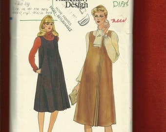 Vintage 1980's Vogue 7771 Maternity Jumper or Sleeveless Dress with Side Pleating Details Size 12