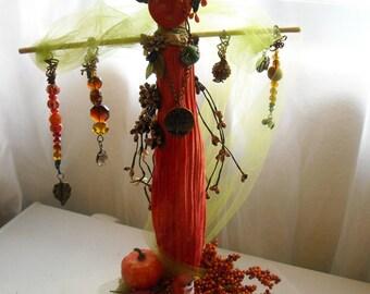 SALE Demeter Harvest Goddess Driftwood Spirit Stick Art Doll Altar Prayer Doll Pagan