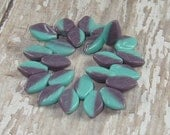 Turquoise Lavender Leaves 12x7mm Czech Glass Bead Leaf Blue Purple CHAMELEON (20)