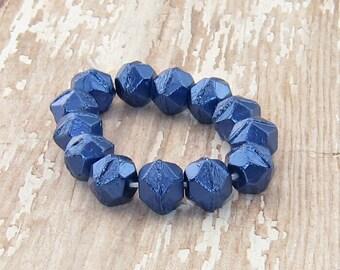 Blue 10mm Czech Glass English Cut Bead Metallic Sapphire Rustic MOON ROCKS (10)