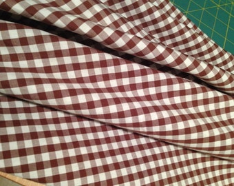 Brown Check Gingham Check 100% Cotton Fabric