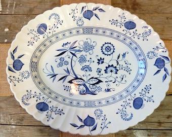 Oval Platter, Blue Stoneware by J & G Meakin, Blue Nordic Pattern, Hand Engraved, Danish Styled, Scandinavian