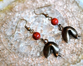 Brass Charm Fortune Cookie with Red Beads Earrings