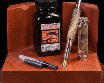 Handmade Buckeye Burl Fountain Pen /w Noodler Ink Well