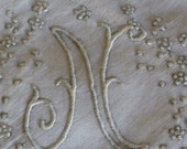 """Vintage Monogram  """"N """" Hankie with Gray Embroidery Details ~ Made in Portugal"""