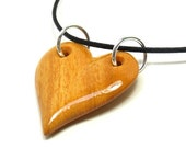 Wooden Heart Necklace - Osage Orange Wood - Anniversary Gift