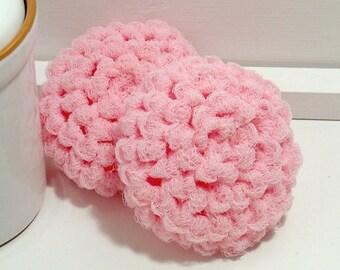 Pink Scrubbies, Pot Scrubby, Reusable Dish Scrubbies, Crochet Scrubbies, Nylon Scrubby, Light Pink Scouring Pads, Crochet Scrubber, Set of 2