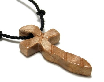 Simple Cross Necklace, Wooden Cross Jewelry, Cross Necklace, Handmade Curly Maple Necklace, Gifts under 20