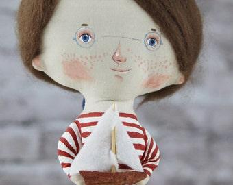 Beach Décor Handmade Doll Sailor Boy by SEASTYLE