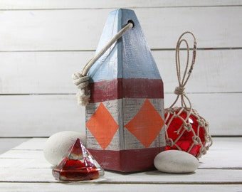Beach Decor Set: Red Glass Deck Prism, Fishing Float in Rope, Lobster Buoy by SEASTYLE