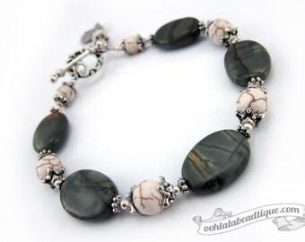 Gray Jasper bracelet, birthstone jewelry, gray bracelet, birthstone bracelet, yoga jewelry, meditation bracelet, bead bracelet gift under 25