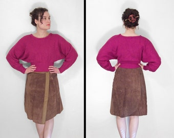 SUEDE Leather Skirt 1970s Two Tone Cocoa Browns 27 Inch Waist Size Small