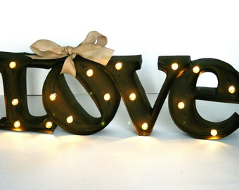 Marquee Love Sign /  lighted marquee sign / LOVE sign /  Rustic Wedding Sign / marquee letter