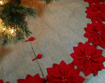 """60"""" Burlap Tree Skirt with silver threads and  Red Poinsettias *FREE SHIPPING*"""