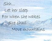 Inspirational quote, print of painting, original art, winter wonderland, snowy mountains