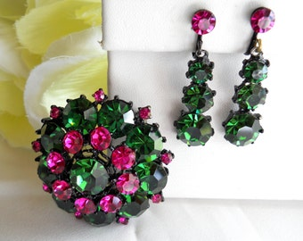 Brooch and Drop Earring Set Green & Pink Rhinestone Domed Vintage, Gorgeous!