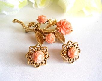 Vintage Pink Resin Rose Flower Brooch and Earring Set